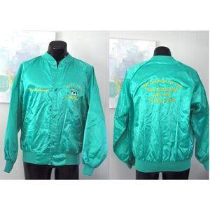Vintage Satin Jacket Bright Turquoise Bomber Coat